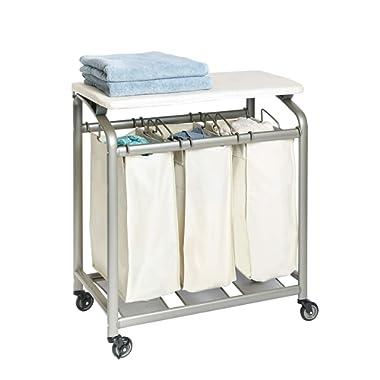Seville Classics Mobile 3 Laundry Hamper Sorter with Folding Table Bag Cart, Champagne