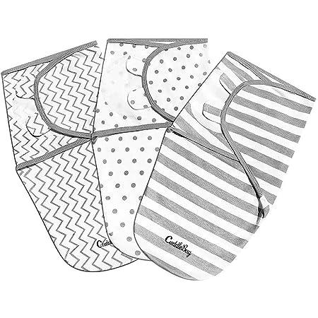 CuddleBug Lot de 3 Langes Réglables Pour Bébé (Pois et Rayures) Taille S/M 0-3 mois