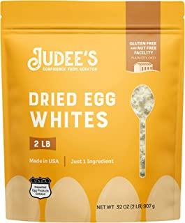 Judee's Dried Egg White Protein Powder - 2lb Resealable Pouch | Pasteurized, USDA Certified, 100% Non-GMO, Gluten-Free & N...