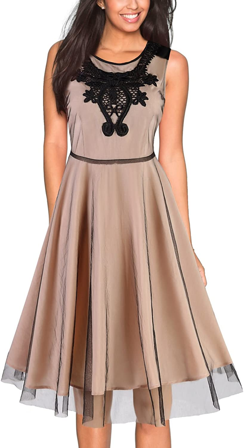 EvelynNY Women's Illusion Floral Lace Elegant Party Casual Bridesmaid Prom Dress