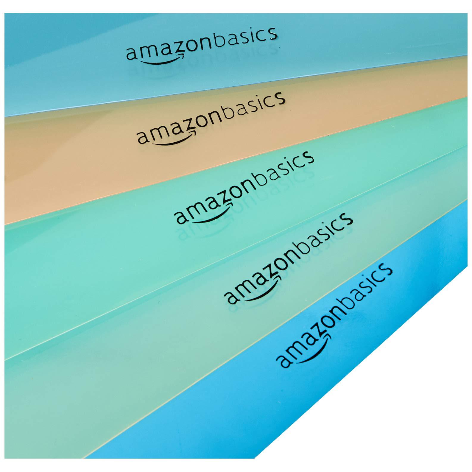 Amazon Basics Binder Organizer Poly Jacket, 3 Hole Punch, Assorted Colors, Pack of 5