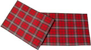 HOMESCAPES Set de Table à Carreaux écossais, Lot de 2, Linge de Table en Coton Rouge, 30 x 45 cm