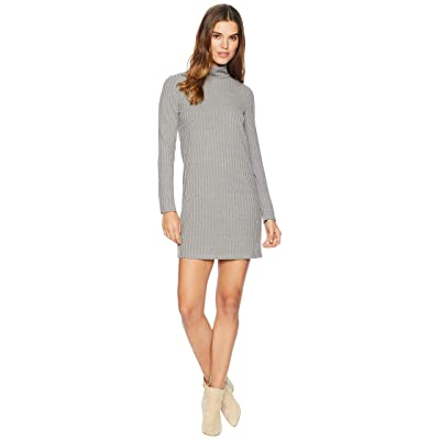 kensie Sweater Like Rib Dress with Turtleneck KS0K8308 (Weathered Slate) Women