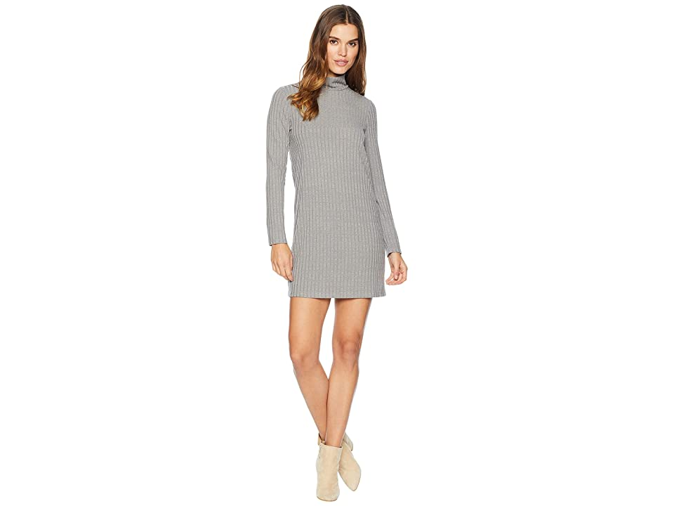 kensie Sweater Like Rib Dress with Turtleneck KS0K8308 (Weathered Slate) Women