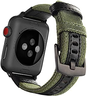 Maxjoy Compatible with Apple Watch Band, 42mm 44mm Nylon Watch Strap Replacement Bands with Metal Clasp Compatible with Apple iWatch Series 4 Series 3 Series 2 Series 1 Sport & Edition, Army Green