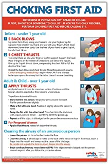 Choking First Aid Poster - 12 x 18 in. - Laminated - Instructions for Infants, Children, and Adults
