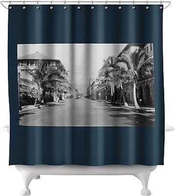 Waterproof Fabric Mountainside Lighthouse Bathroom Mat Set Shower Curtain Liner