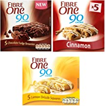Fibre One 90 Calorie 5 Chocolate Fudge Brownies and 5 Lemon Drizzle Flavour 5 Cinnamon Drizzle Squares
