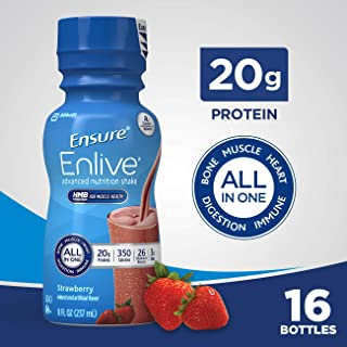 Ensure Enlive Advanced Nutrition Shake with 20 grams of protein, Meal Replacement Shakes, Strawberry, 8 fl oz, 16 count