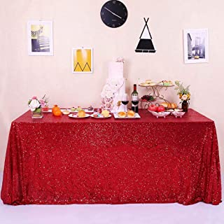 GFCC Glitter Red Sequin Tablecloth for Party Wedding Banquet 60x120 inch Sparkly Rectangle Table Cloth Cake Table Cover Linen