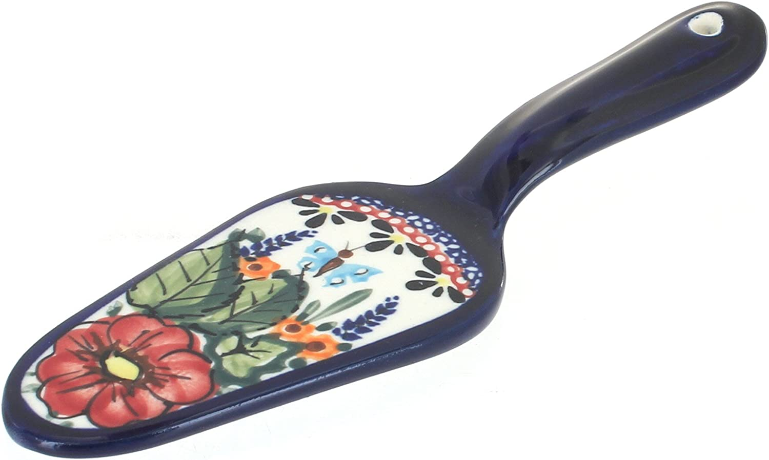 Blue Max 76% OFF Rose Polish Pottery New popularity Floral Cake Server Butterfly
