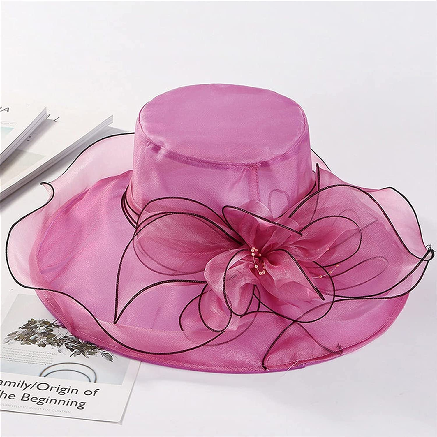 XQLSRJ Fashion Hat for Women Kentucky Hats La Pink Super beauty product restock quality Directly managed store top Organza Derby