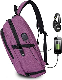 Mens Bag Multi-Function Large Capacity Travel Casual Backpack Laptop Computer Bag with External USB Charging Interface & Headphone Jack & Anti-theft Lock for Men High capacity