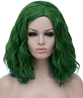 Ruina Short Green Wigs for Women, 14'' Soft Curly Wavy Bob Hair Wig, Natural Fashion Synthetic Full Wig, Cute Hair Wigs fo...