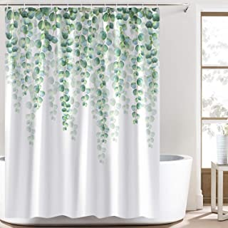 Bonhause Eucalyptus Leaves Shower Curtain with 12 Hooks Green Plant Decorative Bath Curtain 72 x 72 Inch Polyester Fabric ...