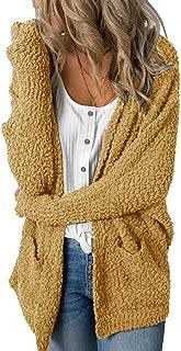 Womens Fuzzy Chunky Cardigan Popcorn Oversized Sherpa Slouchy Open Sweater Coat