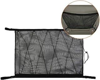 Roccar Ceiling Cargo Net Pocket, Car Roof Long Trip Storage Bag with Zipper, Adjustable Automotive Sundries Storage Pouch,...