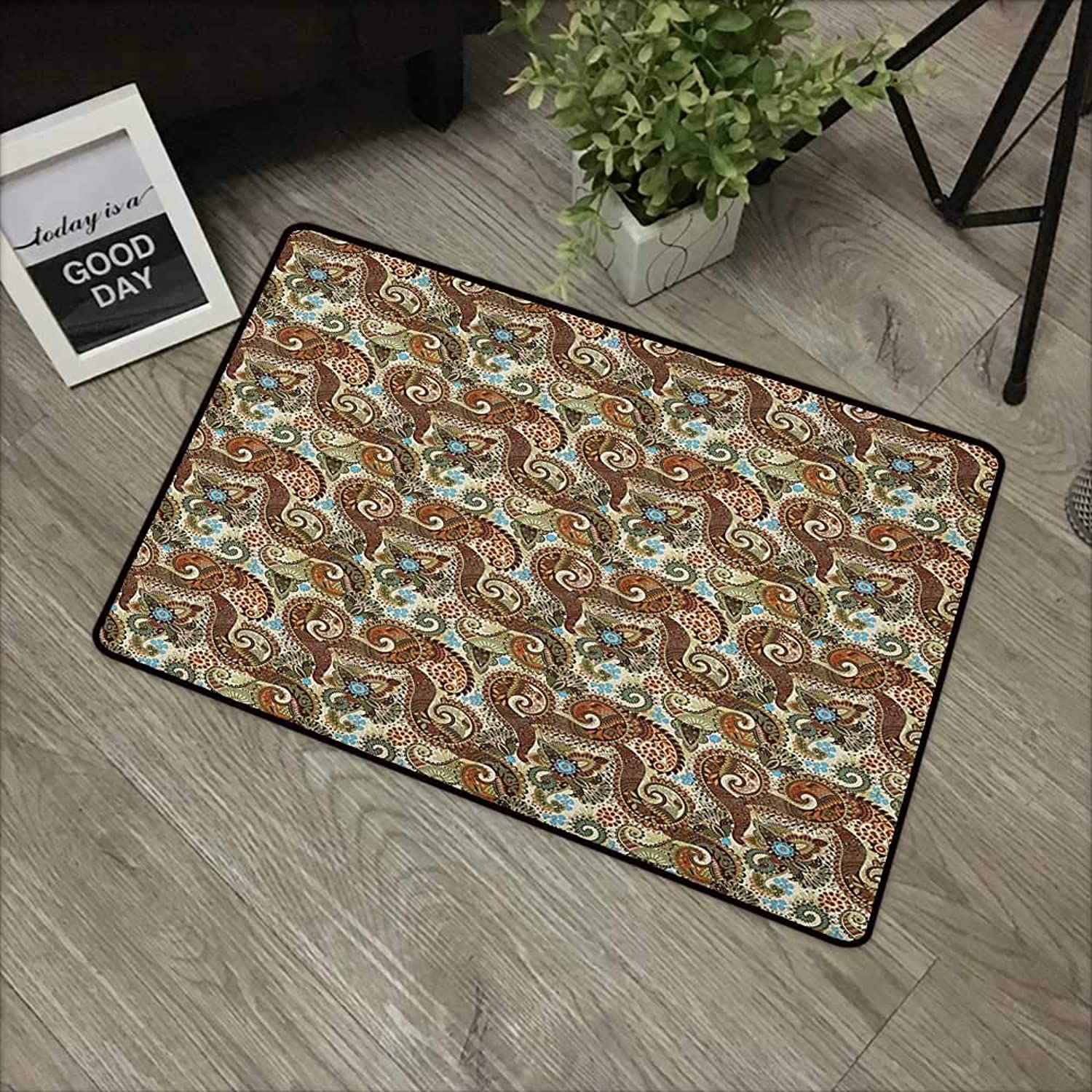 Bathroom Door mat W35 x L59 INCH Paisley,Flower Blossoms in Arabian Style Ethnic Pattern Antique Swirled Authentic Design, Multicolor Easy to Clean, Easy to fold,Non-Slip Door Mat Carpet