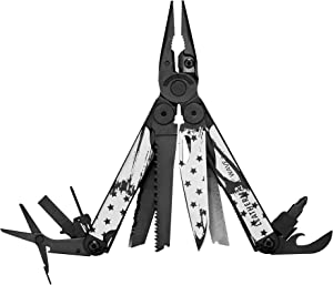 LEATHERMAN, Limited Edition Wave Plus Multitool with Premium Replaceable Wire Cutters, Spring-Action Scissors and Nylon Sheath, Built in the USA, Stars and Stripes Black Oxide