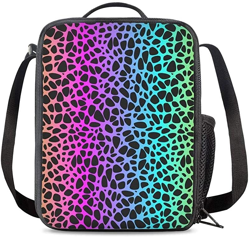KiuLoam Rainbow Leopard Skin Print Kids Small Lunch Box Children S Insulated Lunch Bag With Zipper Shoulder Strap Cooler Lunch Tote For Boys Girl Preschool Office Picnic