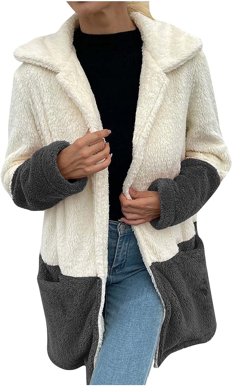Women's Fuzzy Fleece Lapel Open Front Long Sleeve Long Cardigan Coat Faux Fur Warm Winter Oversized Outwear Jackets