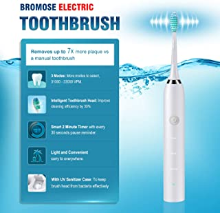 Sonic Electric Toothbrush with UV Sanitizer charging case, Brush Head Disinfection,USB Rechargeable Toothbrush, 3 Modes with Automatic Timer, IPX7 Waterproof, Adult Electric Toothbrush With Holder