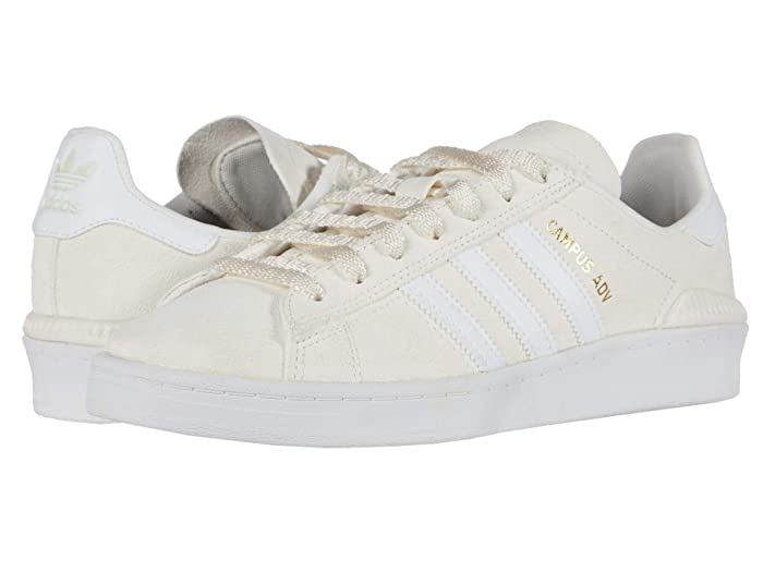 Vintage Sneakers, Retro Designs for Women adidas Skateboarding Campus ADV Supplier ColourFootwear WhiteGold Metallic Skate Shoes $51.00 AT vintagedancer.com