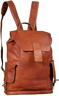 """STILORD """"Austin"""" Rucksack Laptop Leder 13.3 Zoll Frauen Männer Lederrucksack Daypack für DIN A4 Ordner für Schule Uni Arbeit, Farbe:girona - braun"""