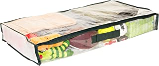 5-Pack Clear Vinyl Zippered Underbed Storage Bags 32 x 16 x 4 Inch with Dark Green Trim, 11 x 14.5 Insert Pocket and Handle