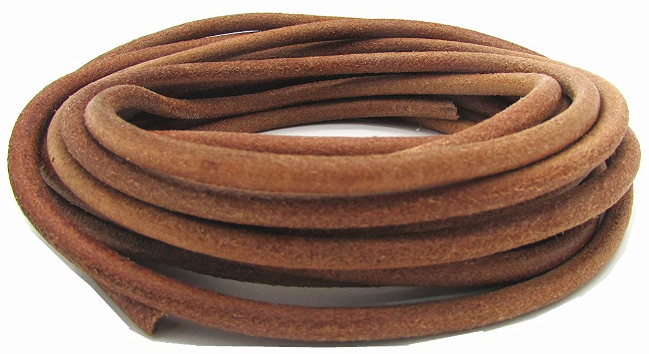5.0mm Genuine Round Leather Cord for Bracelet Neckacle Beading Jewelry Making 5 Meter (Natural, 5 Meter)