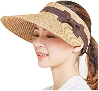 Howely Women Bowknot Sunscreen Straw Hats Large Brim Sun Visor