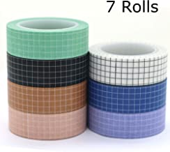 Washi Tape Set, YuBoBo Grid Washi Masking Decorative Tapes 33 Feet per Roll for DIY Decor Planners Scrapbooking Adhesive S...