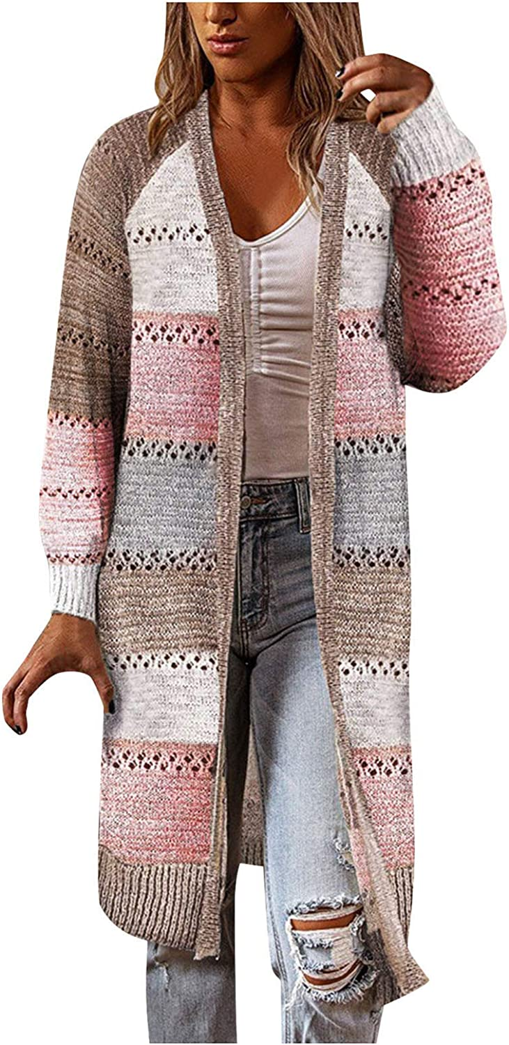 Wocachi Cardigans for Women, Patchwork Color Block Open Front Cardigan Sweater Casual Stylish Womens Long Cardigan