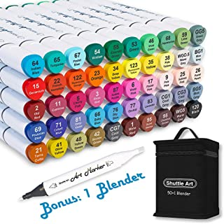 Shuttle Art 51 Colors Dual Tip Alcohol Based Art Markers, 50 Colors plus 1 Blender Permanent Marker Pens Highlighters with...