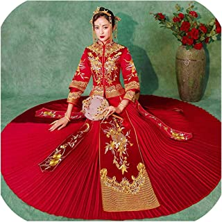 Traditional Bride Cheongsam Red Embroidery Floral Chinese Lady Qipao Oriental Style Luxury Royal Wedding Dress Toast Clothes