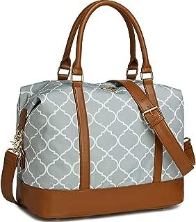 Women Ladies Weekender Bag Overnight Carry-on Tote Duffel in Trolley Handle (Geom Grey)
