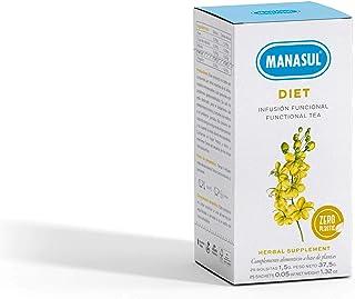 MANASUL - Infusión Digestiva de Sen y Cola de Caballo con Menta y Regaliz. Infusión Adelgazante. Diet. Caja de 25 Bolsitas