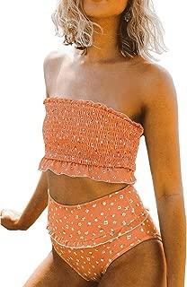 Womens 2 Pieces Bandeau Bikini Swimsuits Off Shoulder High Waist Bathing Suit