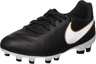 Nike Kids Jr Tiempo Legend VI Fg Black/White/Metallic Gold Soccer Cleat 5 Kids US