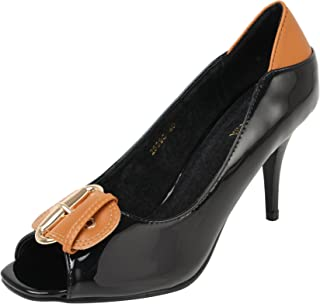 Catwalk Black Leather Heeled Pumps for Women's