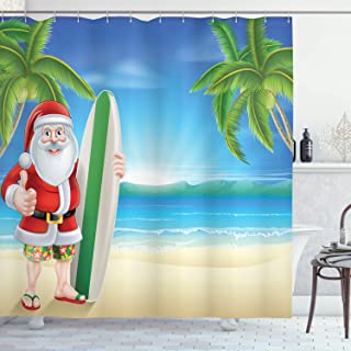 Ambesonne Christmas Shower Curtain, Santa Claus with Trunks on The Beach and Surfboard Sunny Hot Christmas Theme, Cloth Fabric Bathroom Decor Set with Hooks, 70