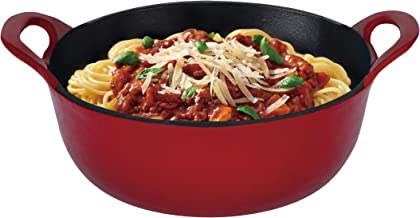 Hell's Kitchen HK-277 Nonstick, 1.75QT-Red-Cast Iron Balti Dish, 1.75 quart,