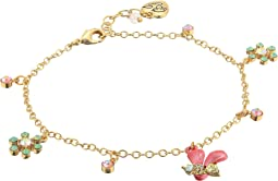 Bumble Bee & Floral Charm Anklet