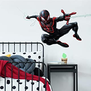 RoomMates Spider-Man Miles Morales Peel And Stick Giant Wall Decals, 1 Sheet 36.5 inches x 17.25 inches, black, red - RMK3921GM