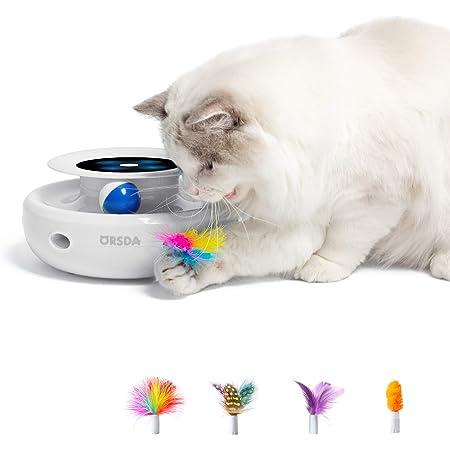 ORSDA 猫 電動 おもちゃ 2in1 自動猫じゃらし 遊ぶ盤 羽根 ボール 運動不足 ストレス解消 羽根が4種類付き 自動停止 電池給電 ホワイト