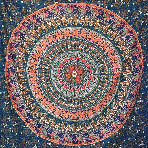 momomus Tapiz Mandala Indio - 100% Algodón, Grande, Multiuso - Tapices de Pared Decorativos Ideales para la Decoración del Hogar, Habitación o Salón - Azul B, 210x230 cm