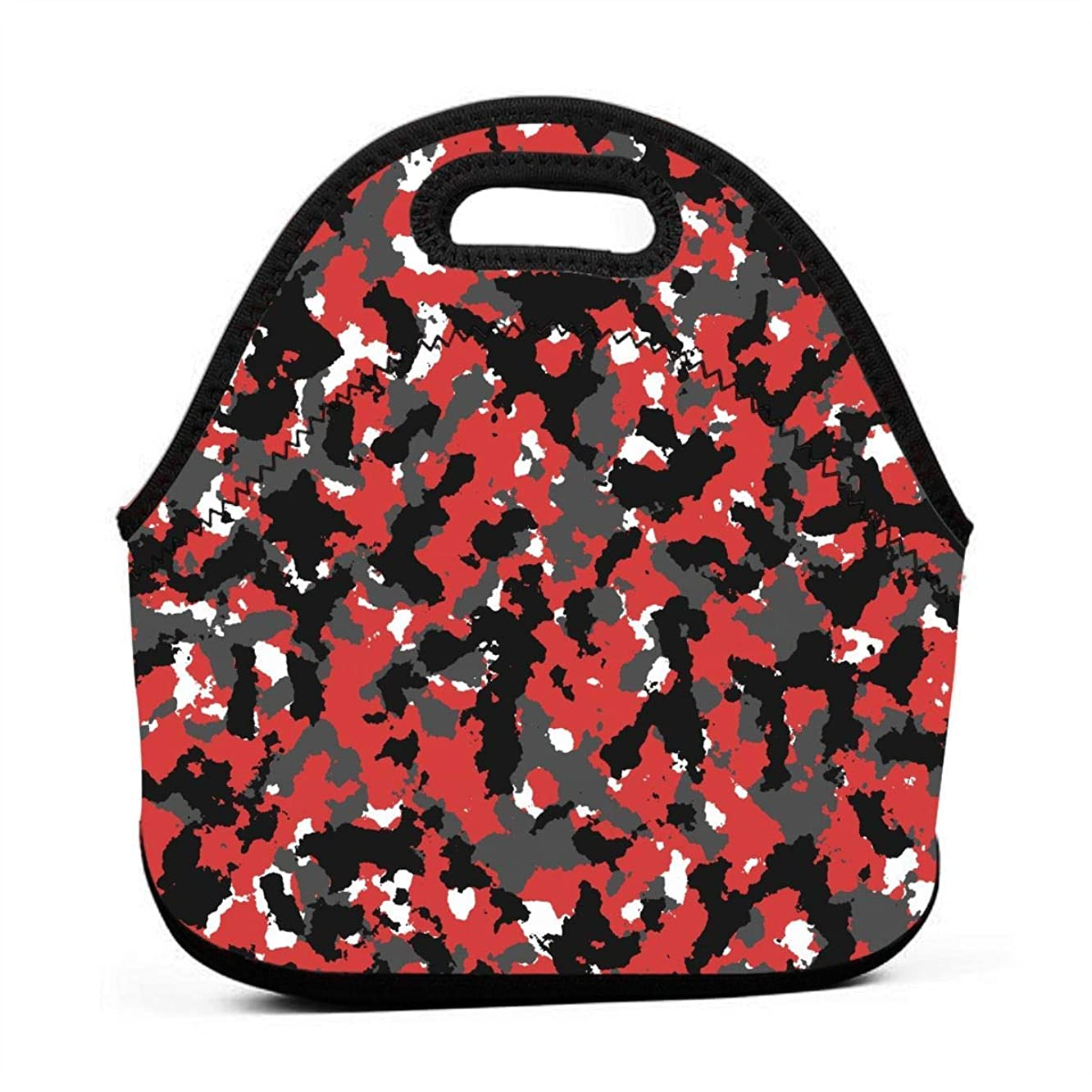 Jake Fashion Shop Neoprene Bloodshot Camo Red Urban Portable Lunch Bag Carry Case Tote with Zipper Box Container Bags Picnic Outdoor Travel Fashionable Handbag Pouch for Women Men Kids Girls