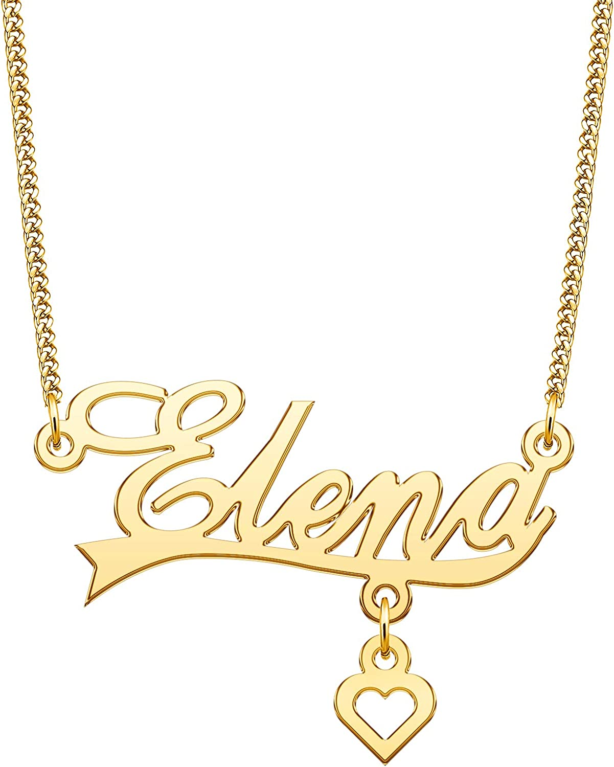 YSAHan Custom Initial Name Necklace Personalized Love Heart Charm Pendant Nameplate Jewelry Birthday Valentines Day Gift for Women Girls