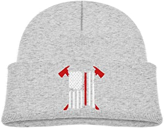 10574fef302 Firefighter Red Line American Flag with Crossed Axes Custom Newest Kid  Winter Warm Beanie Knit Hat