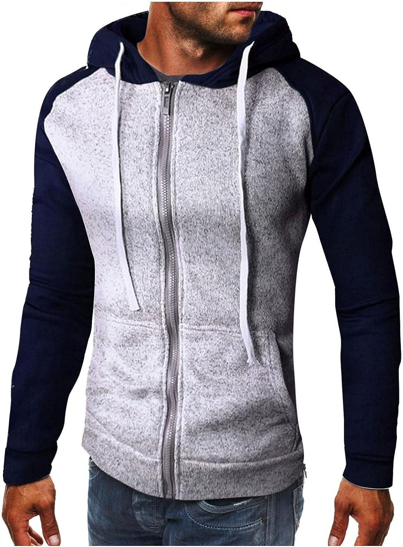 Aayomet Men's Sweatshirts Hoodies Zipper Patchwork Long Sleeve Pullover Casual Workout Sport Tops Sweaters Blouses